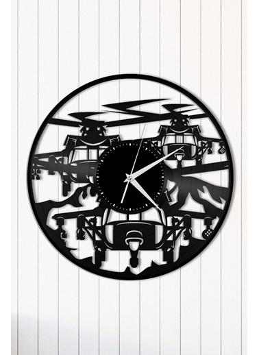 Angemiel Home Pilot Helikopter Pleksi Duvar Saati Siyah
